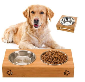 Pet Bamboo Bowl Rack With Stainless Steel