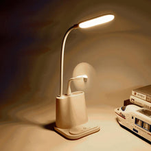 Load image into Gallery viewer, LED Night Light Eye-Caring USB Fan Table Lamp