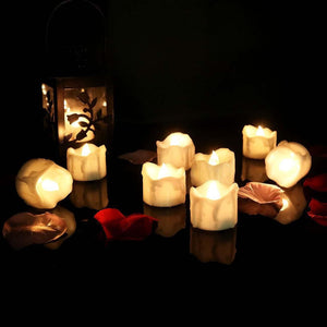 12 Flameless Votive Decor Candles LED Tea Light Battery Operated Flickering Lamp
