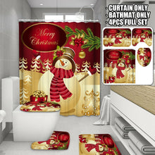 Load image into Gallery viewer, Christmas Snowman Shower Curtain Bathroom Cover