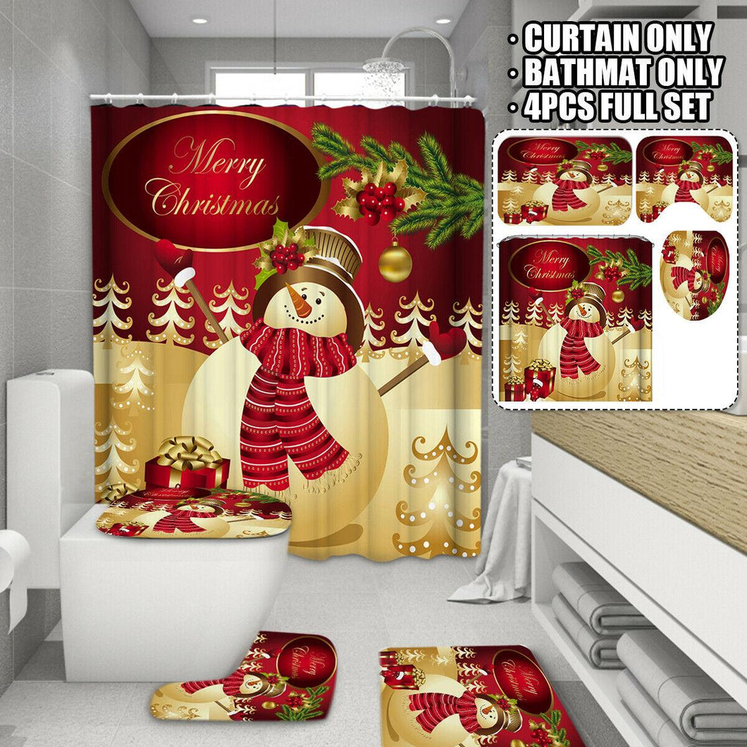 Christmas Snowman Shower Curtain Bathroom Cover