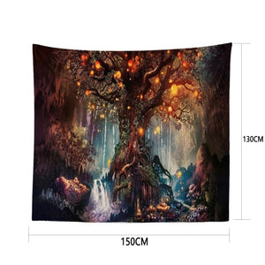 3D Psychedelic Tapestry Forest Trees and Stars Bedspread Wall Hanging Home Decor