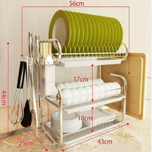 Load image into Gallery viewer, 3 Tier Chrome Steel Dish Drainer Cutlery Rack Organiser Kitchen Drip Tray Green/White