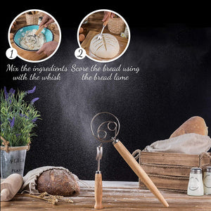 Bread Lame and Danish Whisk Set Flour Blender with Wooden Handle Dough Blender Repair Capacity Wood Handle Curved Bread Cutter Set