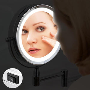 Led Folding Wall Mount Vanity Mirror 3x Magnifying