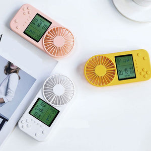Mini Handheld Cooling Fan Portable Pocket Air Cooler Unique Game Console Pattern USB Charging Fan for Office Travel