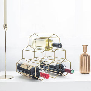 6-Bottles Iron Copper Plated Wine Rack