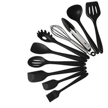 Load image into Gallery viewer, 10Pcs/Set Black Silicone Cooking Utensils