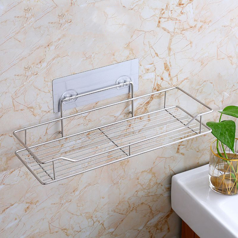 2Pcs Punch-Free Bathroom Shelf Bathroom Toilet Storage Stainless Steel Wash Hanging Basket Wall Hanging Kitchen Supplies