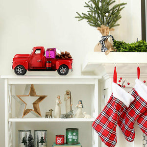 Vintage Red Metal Truck with Movable Wheel Christmas Car Kids Toys