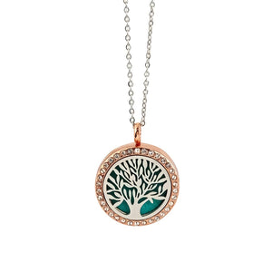 Alloy Rose Gold Diamond Magnetic Aroma Necklace