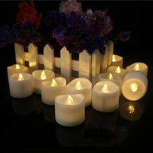 Load image into Gallery viewer, 12 Flameless Votive Decor Candles LED Tea Light Battery Operated Flickering Lamp