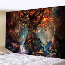 Load image into Gallery viewer, 3D Psychedelic Tapestry Forest Trees and Stars Bedspread Wall Hanging Home Decor