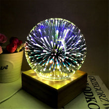 Load image into Gallery viewer, Colorful 3D night lights wooden starry sky projection glass firework lights