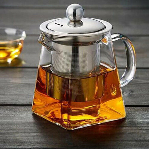 Clear Loose Leaf Tea Heat-resistant Glass Teapot with Infuser Stainless Steel