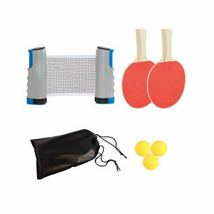 Instant Table Tennis Kit Ping Pong Set & Retractable Net 2 Bats Portable 3 Balls