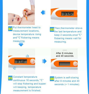 LCD Digital Thermometer Human Health Fever Check Alarm for Adults Children Baby