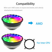Load image into Gallery viewer, RGB Color CPU Cooler LED Air Heat Sink Intel AMD PC Processor Desktop Cooling Fan