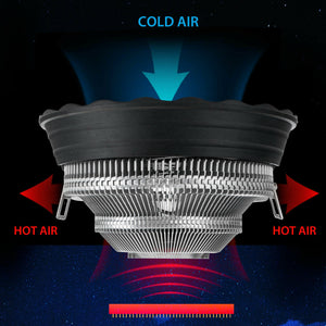 RGB Color CPU Cooler LED Air Heat Sink Intel AMD PC Processor Desktop Cooling Fan