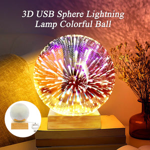 Colorful 3D night lights wooden starry sky projection glass firework lights