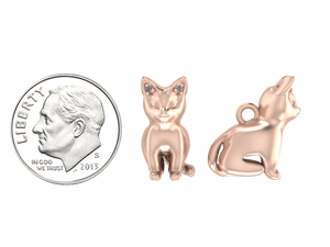 Cat Charm with Diamond Ears