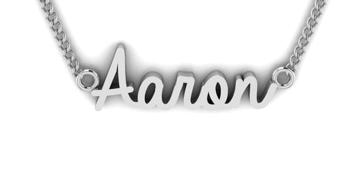 "Image of a silver pendant spelling the name ""Aaron"" in cursive font"