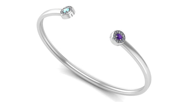 Alt Image: Image of a sterling silver cuff with two birthstones on each end of the cuff