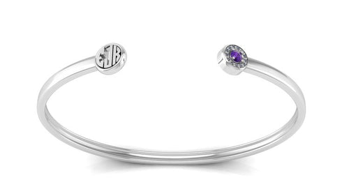 Monogrammed Sterling Silver Bangle Cuff With Birthstone