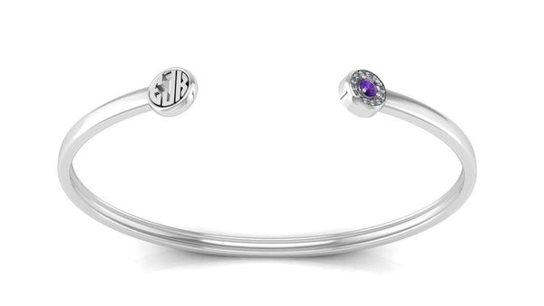 Sterling Silver Bangle Cuff with Birthstone and Monogram