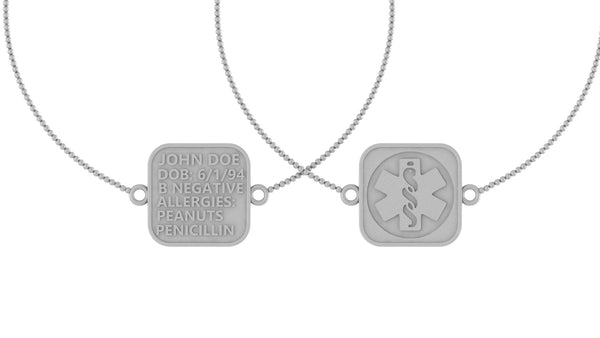 Image of two bracelets overlapping with a medical logo on the front and medical information on the back