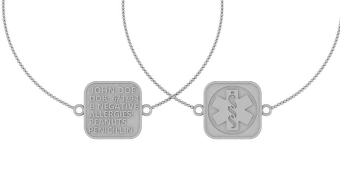 Sterling Silver Medical ID Tag Bracelet