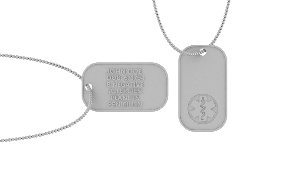 Image of two necklaces with a medical logo on the front of one and medical information on the back of the other.