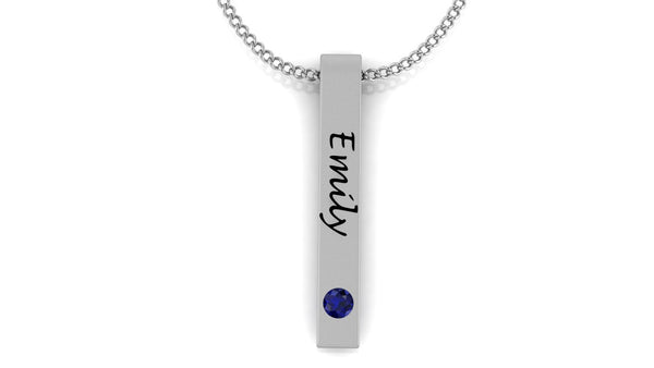 Image of a slim pendant with the name 'Emily' and a blue birthstone