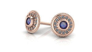 14k Gold Halo Birthstone Studs