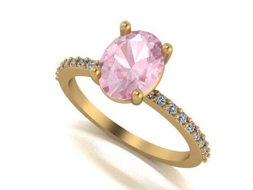 Image of a dainty oval solitaire engagement ring encrusted with side stones