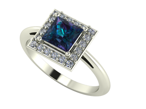 Image of a beautiful princess halo cut engagement ring