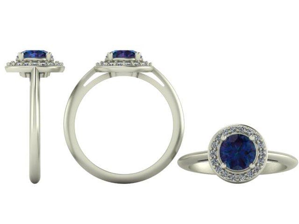 Image of a beautiful, blue, halo engagement ring