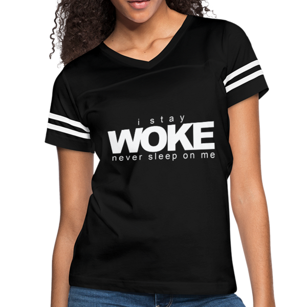 I Stay Woke Women's Vintage Sport T-Shirt - black/white