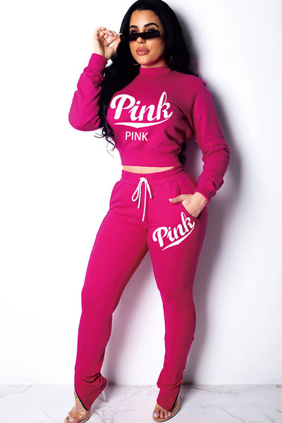 Pink Polyester Drawstring Two-piece suit
