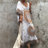 2019 New Plus Size Women Summer Beach Wear Kaftan Maxi Dress Cotton Tunic Bohemian Printed Batwing Sleeve Long Dress Sarong N773