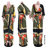 2019 Without Belt Maxi Dress with Sleeve Women V Neck Irregular Print Long Dress Elegant Boho Holiday Party Dresses Femme Festa