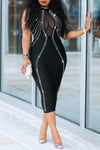 Sexy O Neck See-through Black Mid Calf Dress
