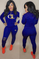 Royal Blue Polyester Active CHAMP  printedTwo Piece Suits