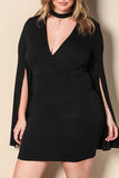 Trendy Cloak Design Black Plus Size Mini Dress