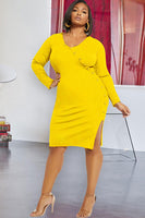 Solid Stitching Plus Size Dress