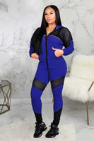 BE ORIGINAL Wear Polyester  Zippered Long Sleeve Two-piece Pants Set