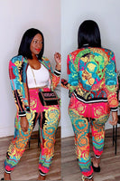 Womens Polyester Casual Print Zippered Two Piece Suits