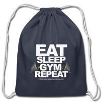 EAT SLEEP GYM REPEAT Cotton Drawstring Bag - navy