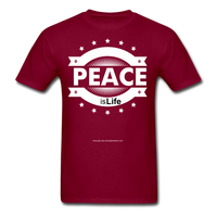 PEACE IS LIFE T-Shirt - burgundy