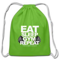 EAT SLEEP GYM REPEAT Cotton Drawstring Bag - clover